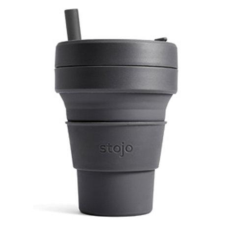 Collabsible, reusable, ultra-portable travel mug. Stojo Mini 16oz/470ml/