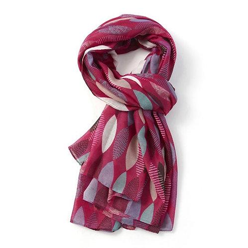Pink leaf patterned light scarf
