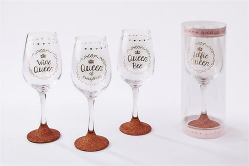Queen sparkly Wine Glass - Choice of 4 designs