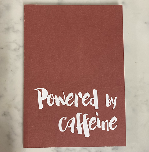 Powered by caffeine lined A5 notebook