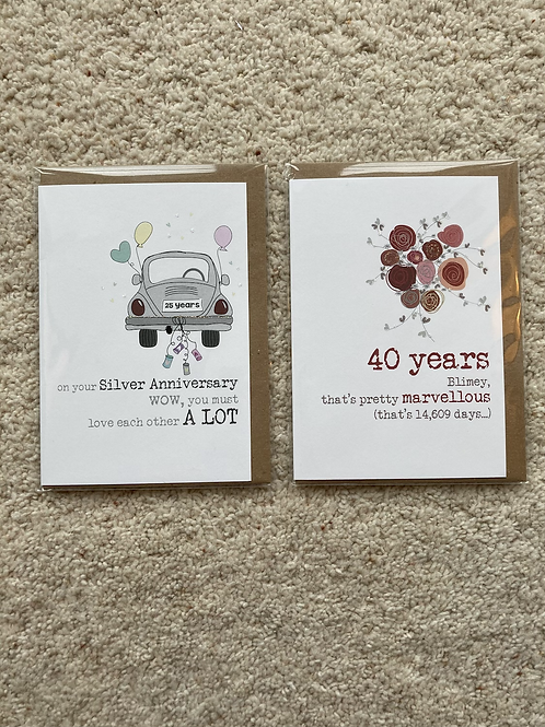 Silver / Ruby Anniversary cards (prices vary)