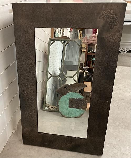 Rectangle Garden mirror with acorn detail
