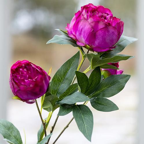 Peony spray Dark pink faux flower 70cm 3 flower head