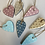 Thumbnail: Wooden spotty hanging hearts, aprox 5cm