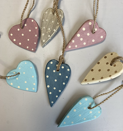 Wooden spotty hanging hearts, aprox 5cm