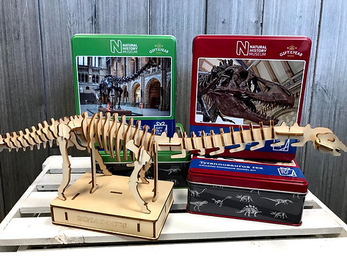 National History Museum dinosaur model kit in a Tin
