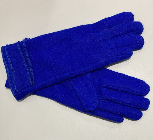 Royal blue wool/jersey gloves small ladies
