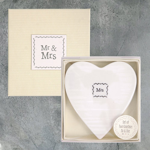 Porcelain Mr & Mrs Coasters