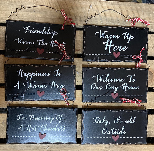 Black wooden comfort plaque 15x8cm