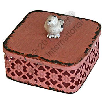 Pink Jewellery/Trinket Box with Bird 8cm by 4cm