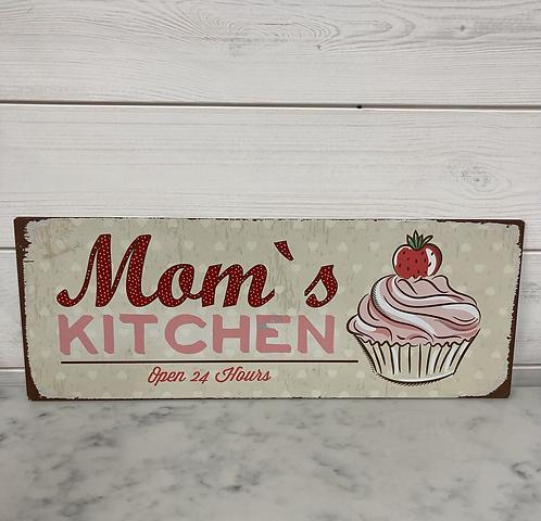 Metal Mom's Kitchen plaque 40x15cm