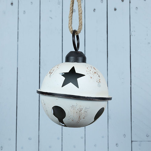 Rustic Metal Bell Bauble Decoration 23.5x17cm, White