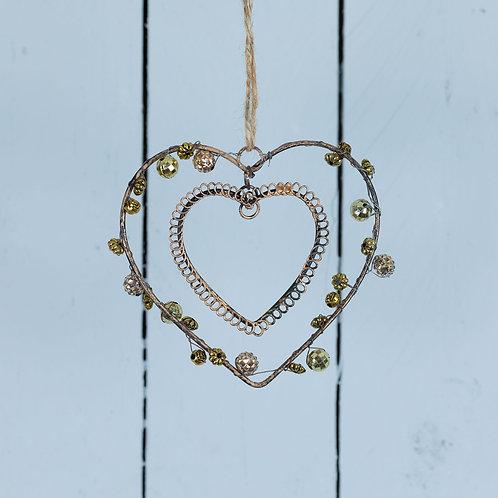 Gold coloured beaded gem heart 9cm