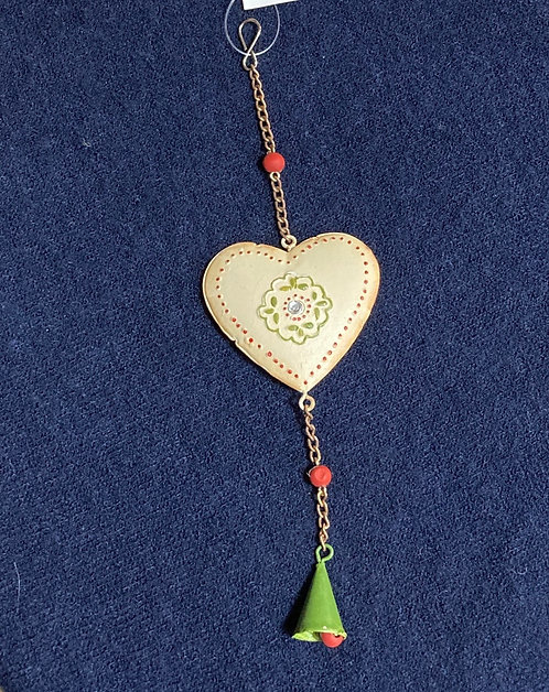 Metal hanging heart cream with red edge