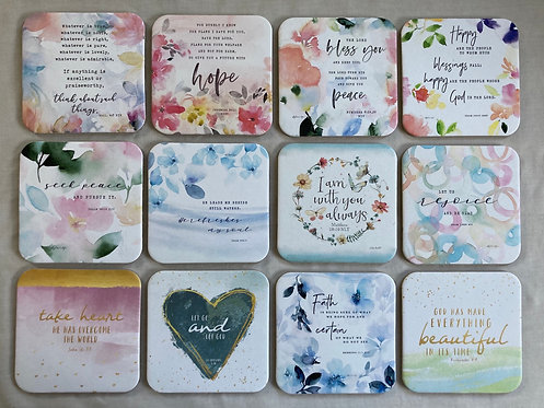Floral Coasters with Bible Ref