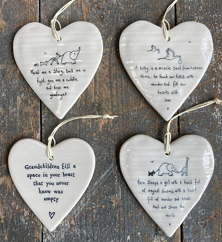 Porcelain Hanging Heart - child / grandparent