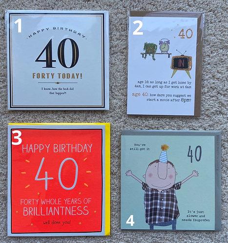 40 Birthday cards (price vary)