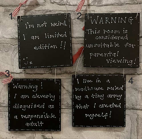 Humour quotes hanging plaques