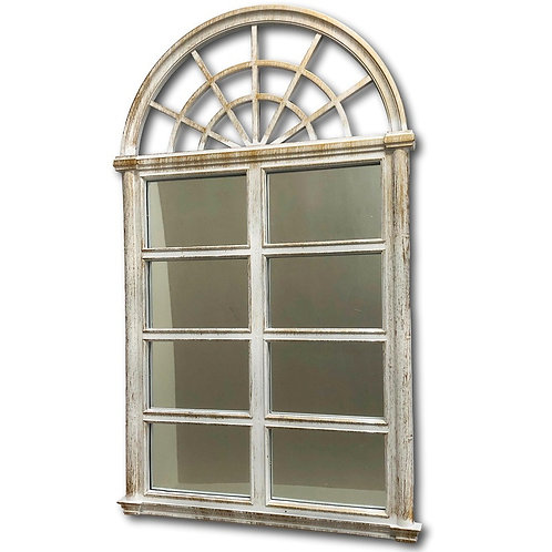 Arched White Mirror with Gold detail