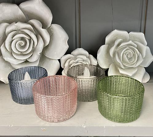 Glass Tealight Holder - 4 colours