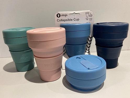 Collabsible, reusable, ultra-portable travel mug. Stojo Mini 12oz/355ml