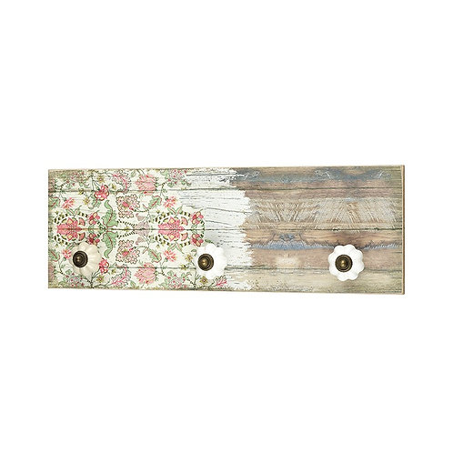 Hook - Distressed Floral Plaque with 3 Knobs