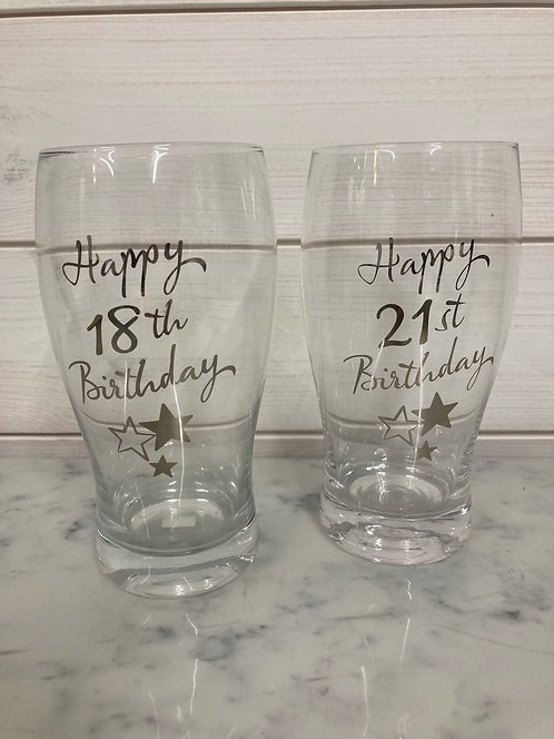 Celebration Pint Glass - 18th, 21st