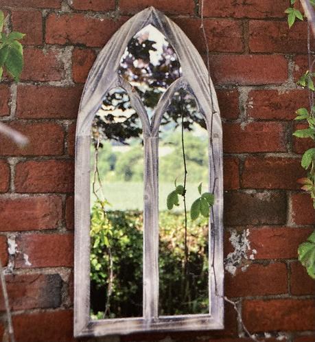 Gothic Wooden Garden Mirror 75x35cm St Andrew