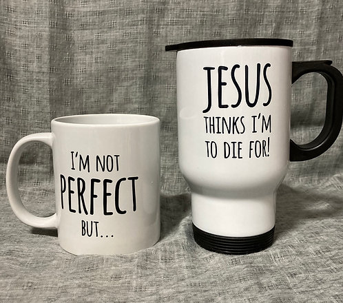 I'm not perfect... mug for home or travel. From £7.99