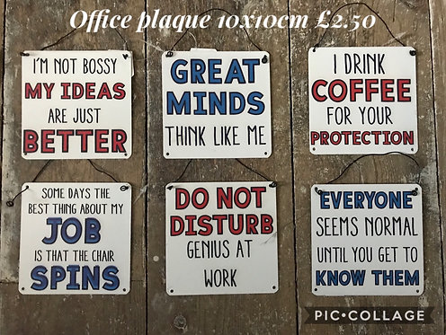 Signs, metal plaques