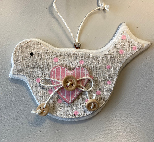 Dotty bird hanging decoration, 8x12cm