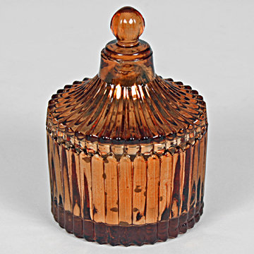 Round Ribbed Jar Candle Bronze 9cm