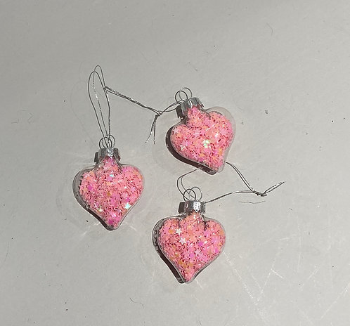 Pink glass heart confetti hanging decorations aprox 4x4cm Buy 3 get 4th free