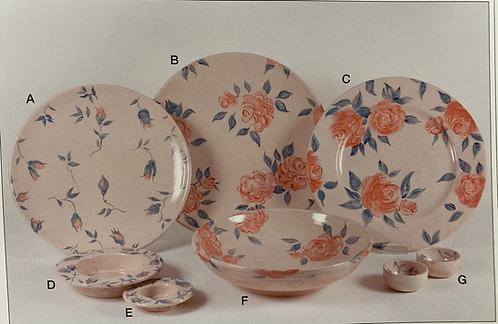 English Rose hand painted ceramics plates, bowls, from 2.10