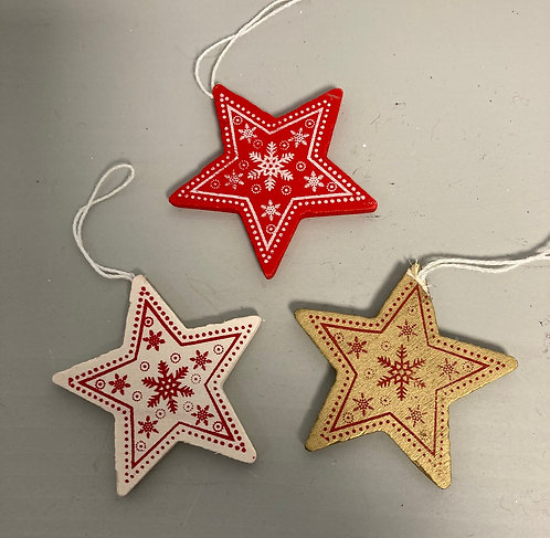 Wooden painted stars, red, white or gold