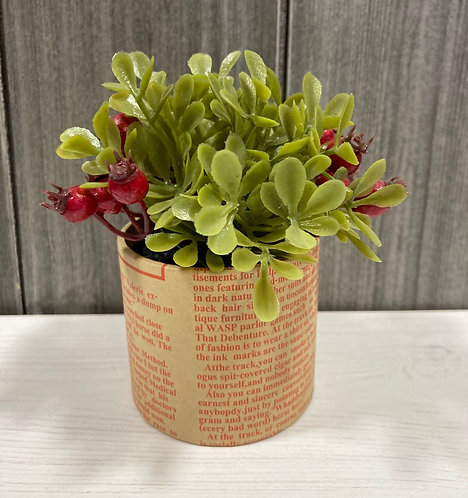 Red Berry artificial Plant in paper bag pot 10cm