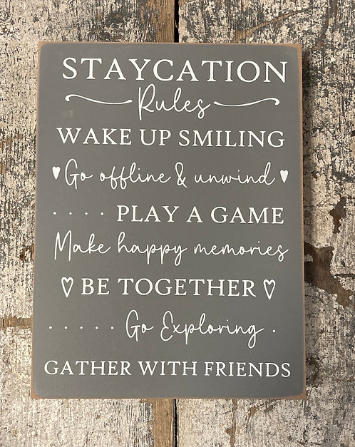 Staycation Word Block 20x15x2.5cm
