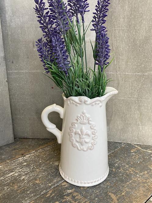 White ceramic jug Fleur de Lis 18cm