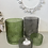 Thumbnail: Green or Grey Leaf Embossed Glass Pot