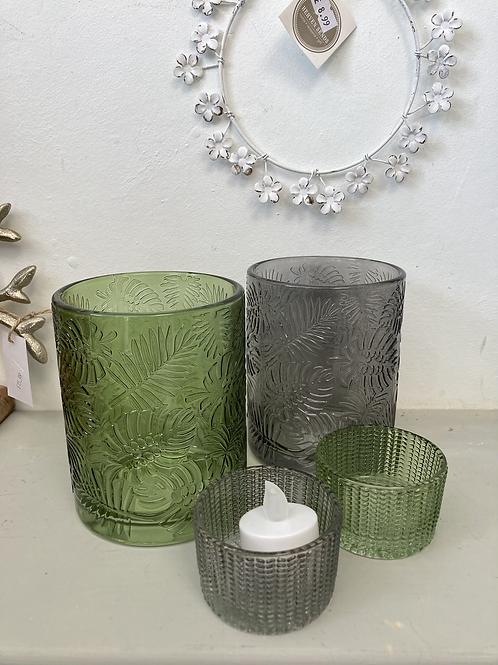 Green or Grey Leaf Embossed Glass Pot
