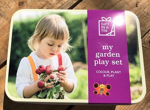 My Garden Playset Gift in a Tin, child gardening set