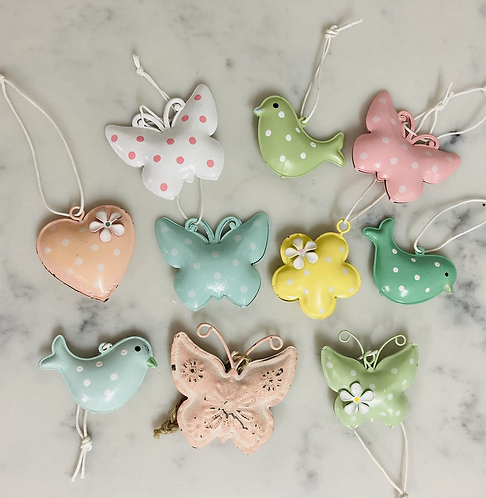 Metal hanging decorations buy 5 get 6th free - bird, flower, heart, butterfly