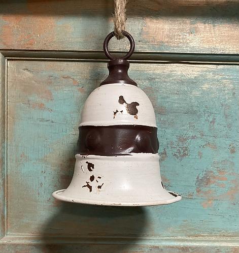 Rustic Metal Bell 19x15.2cm white