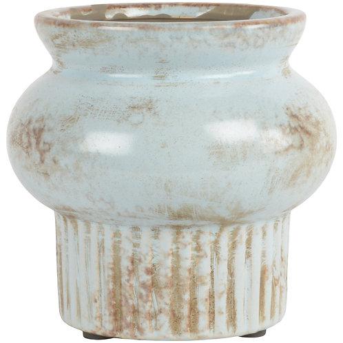 Wide Brim Short Vase - Sky