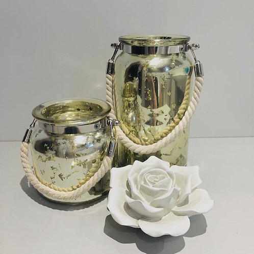 Mercury glass pot with rope handle 2 sizes