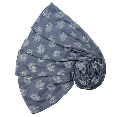 Oak Tree print scarf in blue, white, pink or red