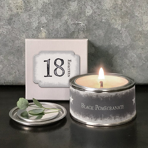 '18' Candle Black Pomegranate, boxed