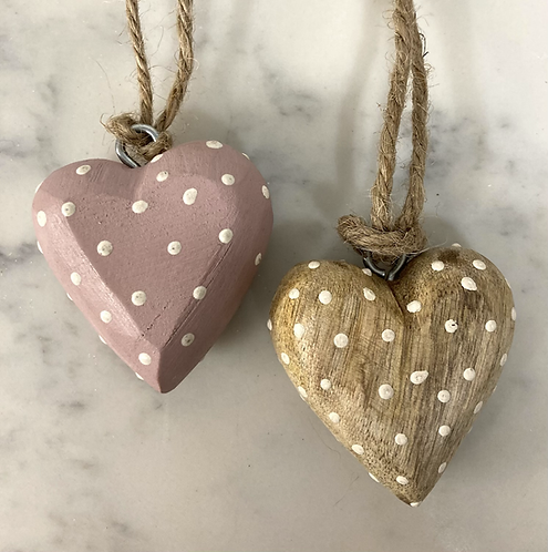 Wooden dotty heart 50mm