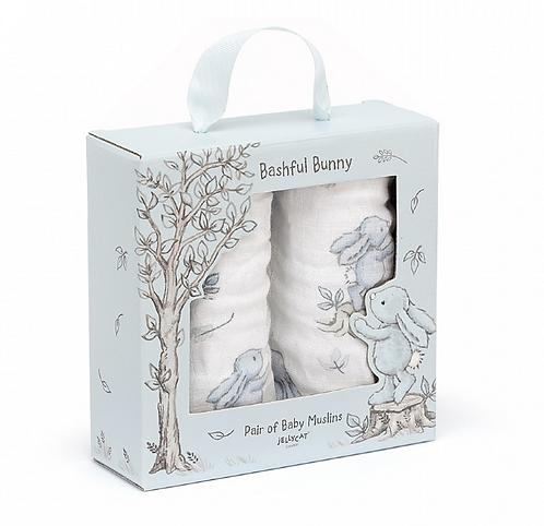 Jellycat Bashful Bunny Muslins - Blue or Pink