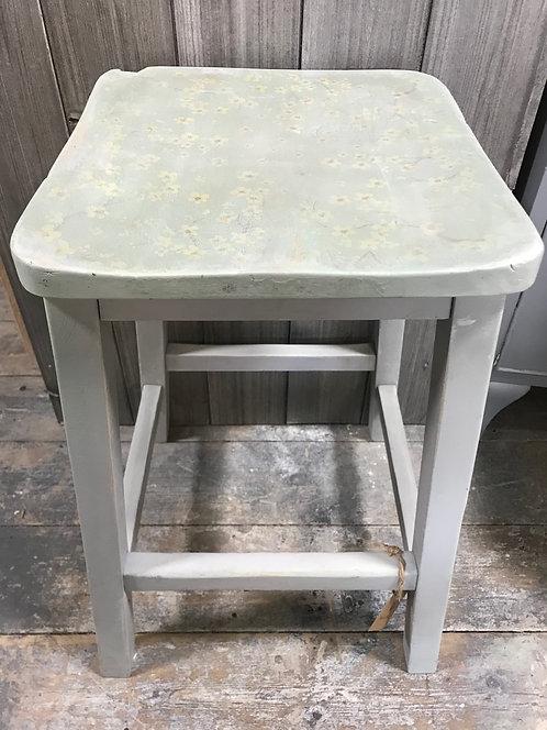 Unique hand painted vintage stool 50cm high
